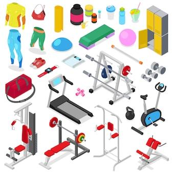 Fitnessapparatuur vector gym machine voor het doen van sportoefeningen op training training om lichaam te bouwen met bodybuilding gewichten in sportclub illustratie set sportkleding geïsoleerd op een witte achtergrond