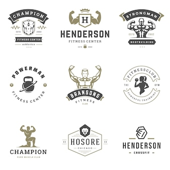 Fitnesscentrum en sport sportschool logo's en badges ontwerp set illustratie