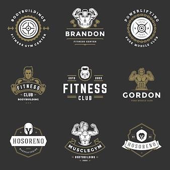 Fitnesscentrum en sport sportschool logo's en badges ontwerp set illustratie