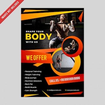 Fitnessclub flyer & poster voorbladsjabloon.
