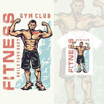Fitnessclub met een gentleman pose illustratie