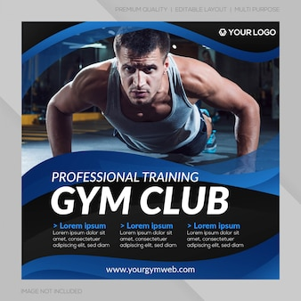 Fitnessclub sociale media post sjabloon