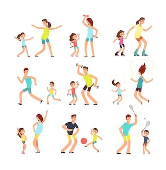 Fitnessfamilie, ouders en kinderen trainen samen.