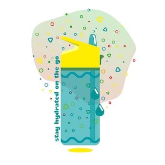 Fitnessfles met water en bubbels op de achtergrond. sport, actieve en gezonde levensstijl. tekst met de tekst - blijf onderweg gehydrateerd. trainen binnen of buiten. vlakke afbeelding. ontwerp elementen.