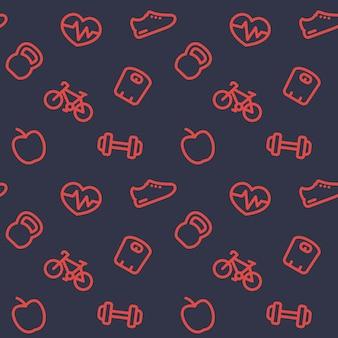 Fitnesspatroon, donkere naadloze achtergrond met fitnesspictogrammen, vectorillustratie
