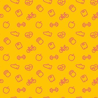 Fitnesspatroon, naadloze achtergrond met rode fitnesspictogrammen op geel, vectorillustratie