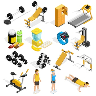 Fitnessruimte en fitness isometrische icons set