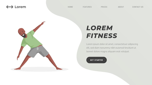Fitnessstudio of online training landingspagina sjabloon man