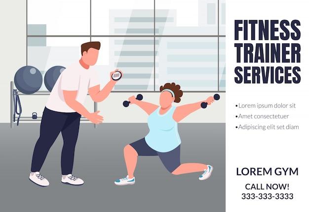 Fitnesstrainer diensten platte sjabloon voor spandoek