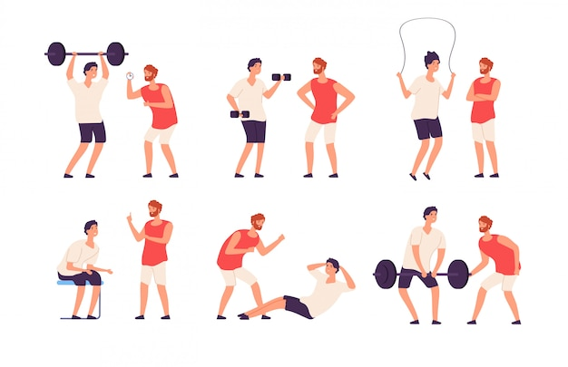 Fitnesstrainer. mannelijke persoonlijke coach helpt bodybuilder man training oefenen gym set
