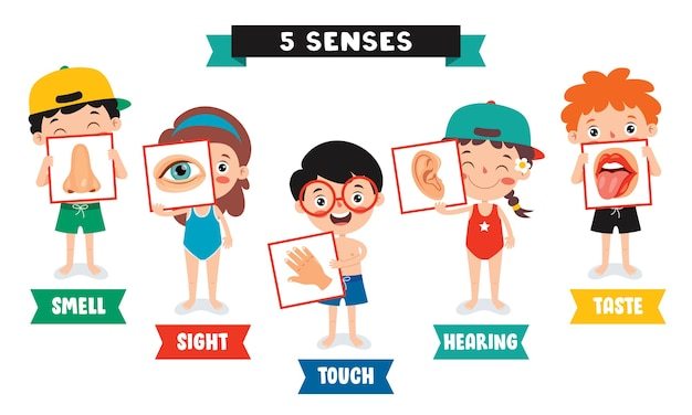 Five senses-sjabloon met kinderen met menselijke organen