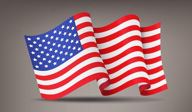 Fladderen, realistische amerikaanse vlag zwaaien, nationaal symbool