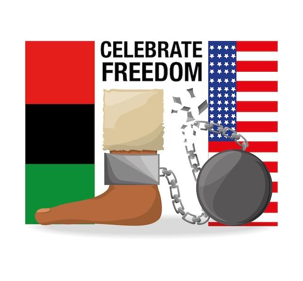 Flah en ketting in de voet om vrijheid te vieren