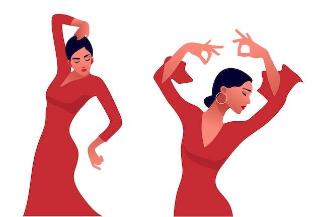 Flamencodanseres. mooie sierlijke vrouw dansen. spaanse cultuur.