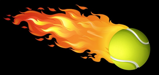 Flaming tennisbal op zwart