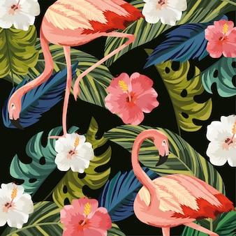 Flamingo'dieren met tropische bloemen en bladerenachtergrond