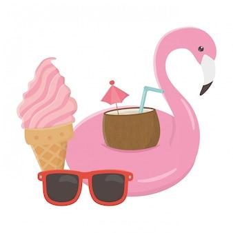 Flamingo drijven en zomer