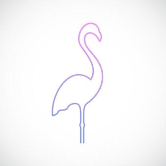 Flamingo-embleem in eenvoudige lijnstijl
