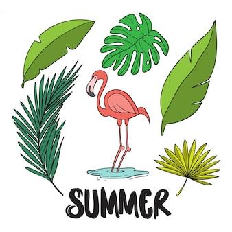 Flamingo en bladeren in de zomer