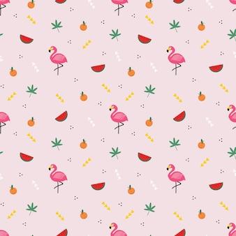 Flamingo en zomerelement naadloos patroon