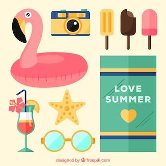 Flamingo float achtergrond met andere zomer elementen