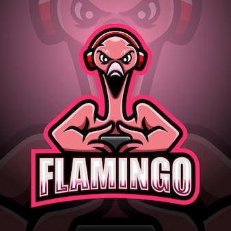 Flamingo gamer mascotte esport illustratie