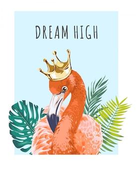 Flamingo in kroon met slogan