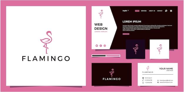 Flamingo line logo + leaf
