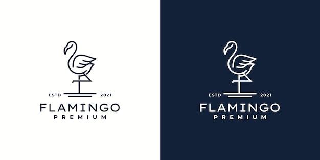 Flamingo logo vector lijn overzicht mono lijn pictogram illustratie