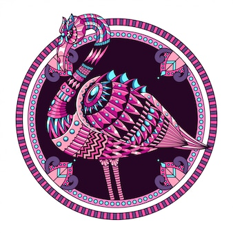 Flamingo mandala zentangle illustratie