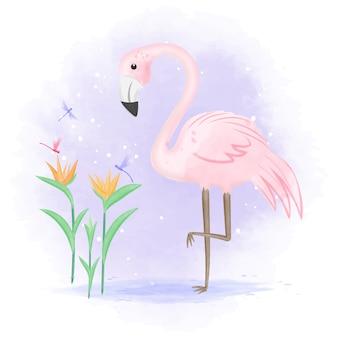 Flamingo met libel en paradijsvogel bloem illustratie