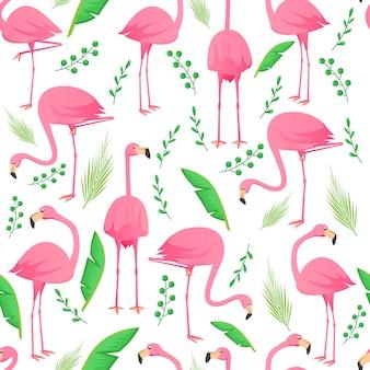 Flamingo naadloos patroon met bladeren