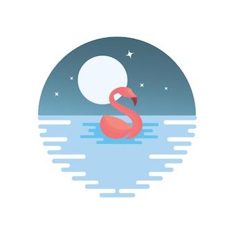 Flamingo oceaan illustratie
