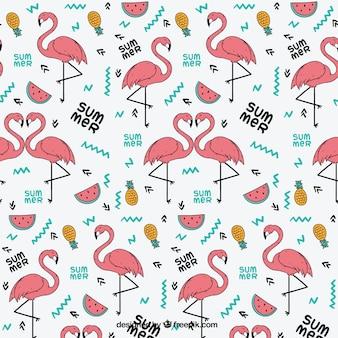 Flamingo patroon met zomerfruit