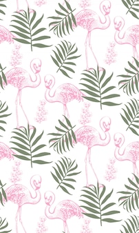 Flamingo's en palmbladen naadloos patroon
