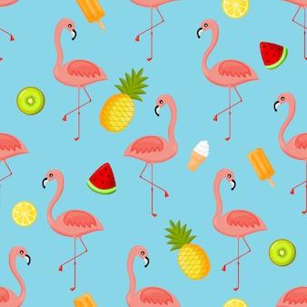 Flamingo's, kiwi, ananas, ijs, watermeloen en oranje naadloze patroon