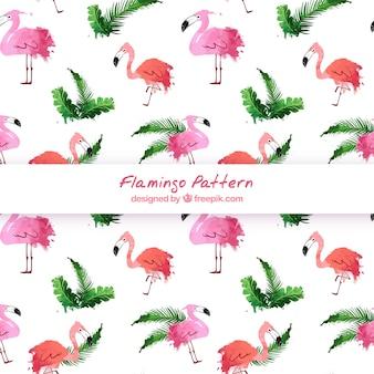 Flamingo's patroon in aquarel stijl