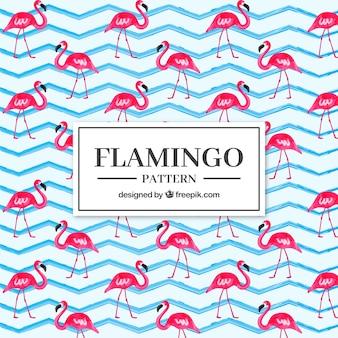 Flamingo's patroon in de hand getrokken stijl