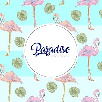 Flamingo's patroon met bladeren