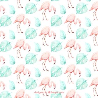 Flamingo's patroon met planten in aquarel stijl