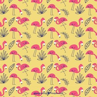 Flamingo's patroon met planten