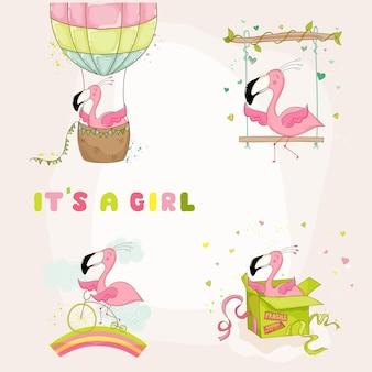 Flamingo set babyshower of aankomstkaart