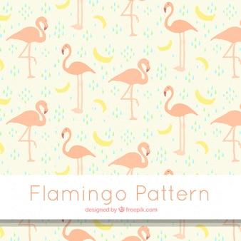 Flamingo'spatroon met in hand getrokken bananen stijl
