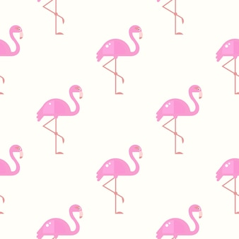 Flamingo vogel achtergrond. retro naadloze patroon in vector