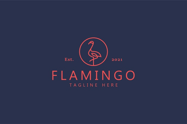 Flamingo vogel logo. monoline-stijl creatieve merkidentiteit