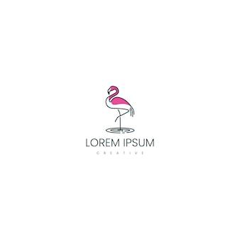 Flamingo vogel logo ontwerp inspiratie