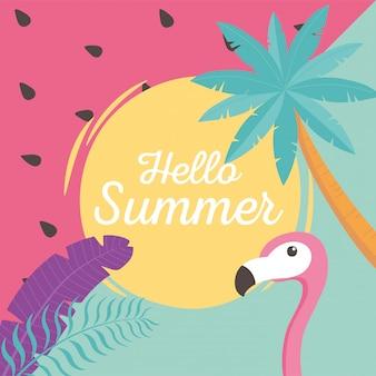 Flamingo vogel met exotische tropische palmbladeren, hallo zomer belettering illustratie