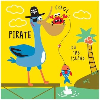 Flamingo vogel met krab op het eiland grappige dieren tekenfilm, vectorillustratie