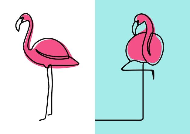 Flamingo vogel minimalisme oneline continue lijn kunst premium vector set