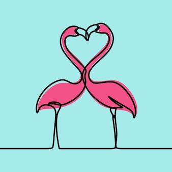 Flamingo vogel minimalisme oneline continue lijn kunst premium vector